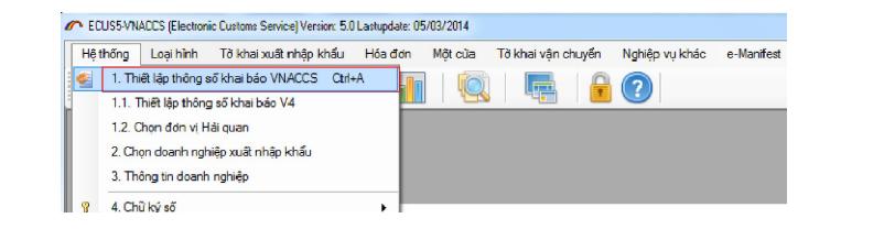 khai báo hải quan trên phần mềm Ecus5-Vnaccs