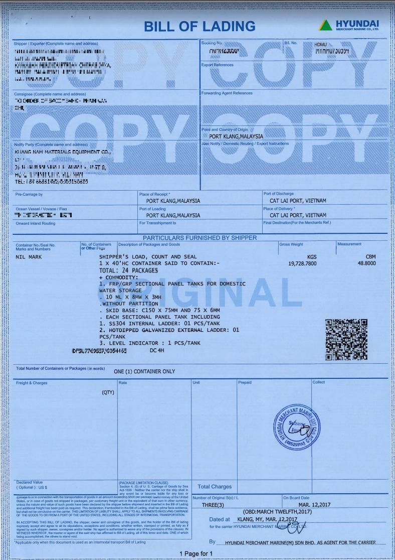 vận đơn copy