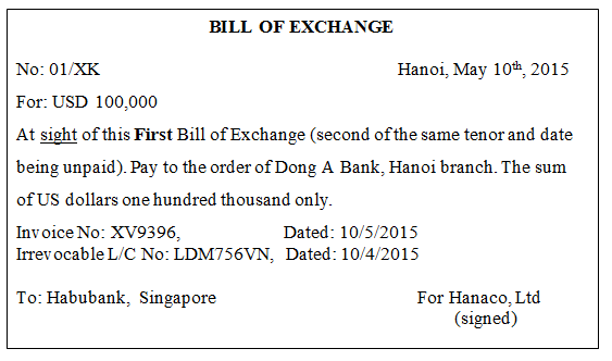 hối phiếu bill of exchange