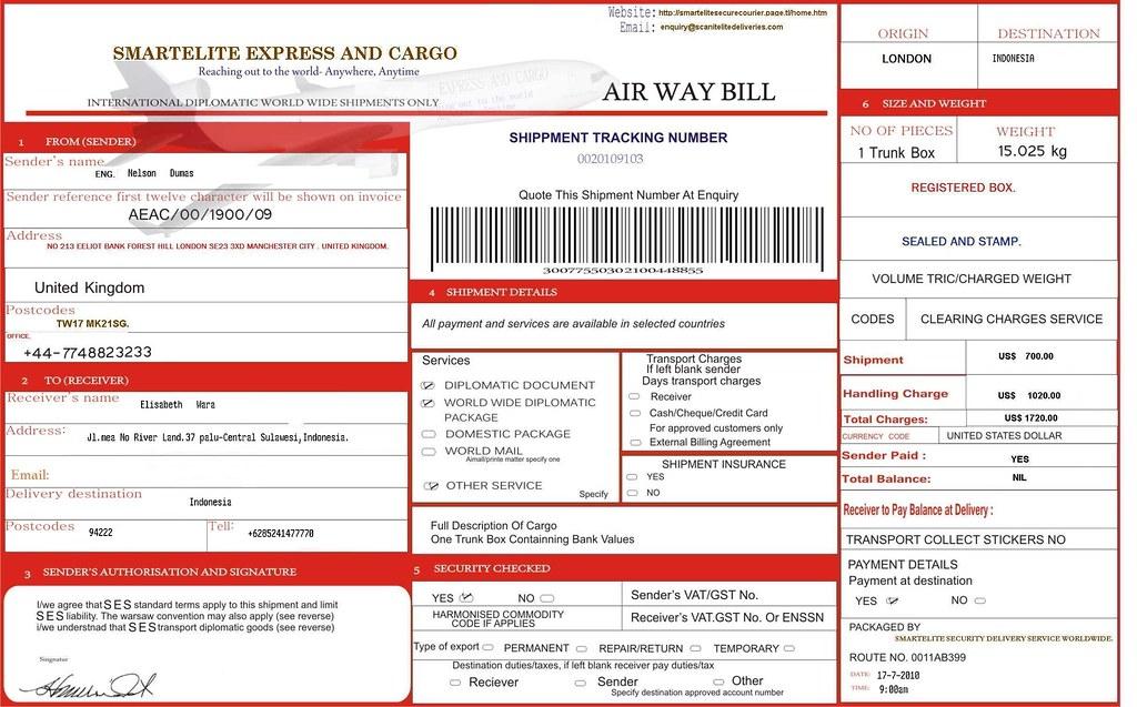 Hướng dẫn trình bày nội dung trên Airway Bill