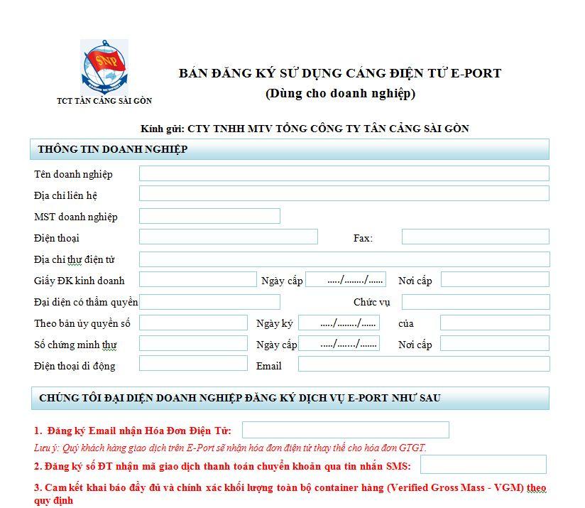 Đăng ký sử dụng cảng điện tử EPort